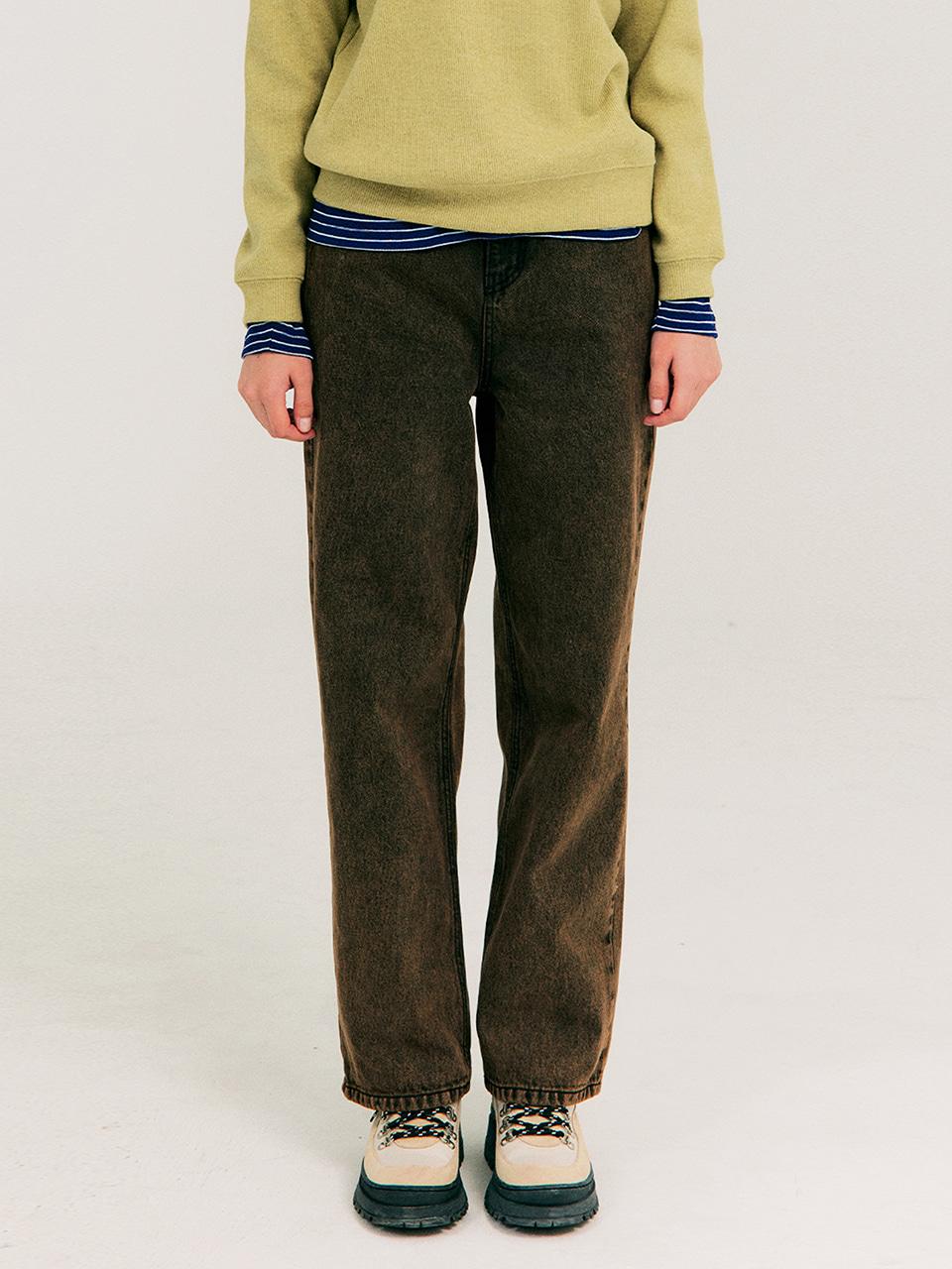 Color-dying Wide Denim Pants_Dark Brown