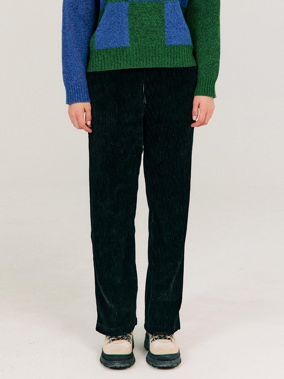 Two Tone Velour Pants_Black