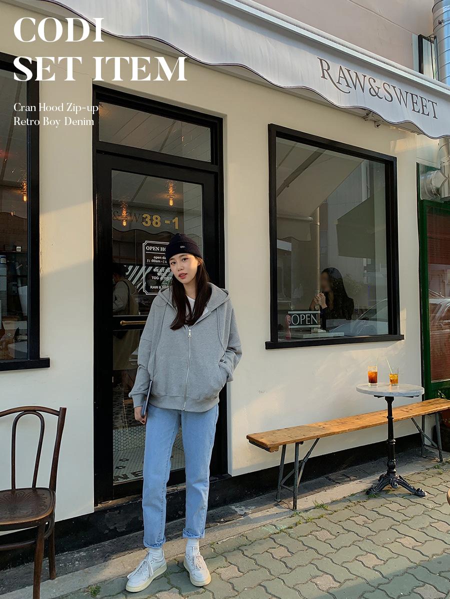 [SET][WONT] 크렌 후드 집업[WONT] 레트로 보이 데님