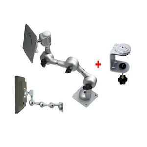 국산 고급형 LCD 모니터 거치대 IK-703 (3단관절 기어 맞물림방식 관절 연결 구조) / 크램프+3단관절+VESA 75mm 100mm 규격홀과 호환되는 모니터결합판 세트