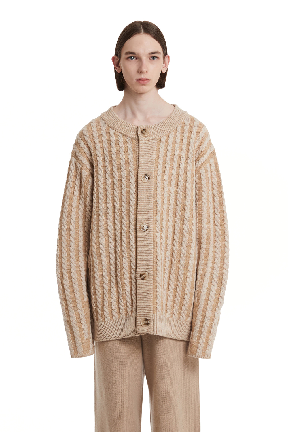 Cable Stripe Knit Cardigan