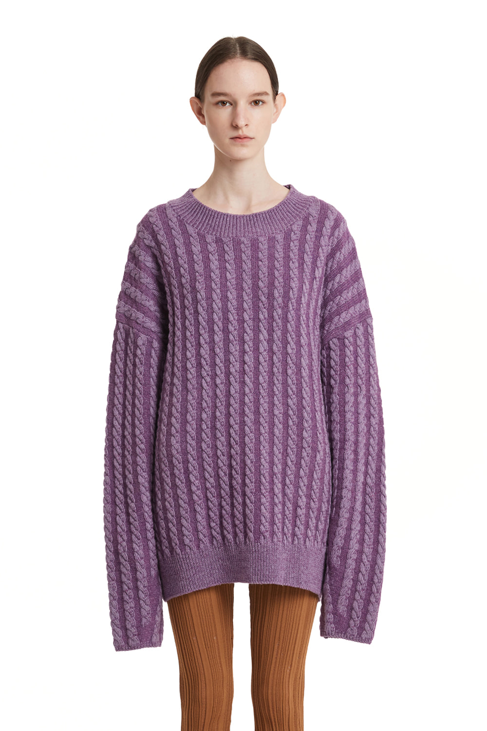 Cable Stripe Knit Sweater