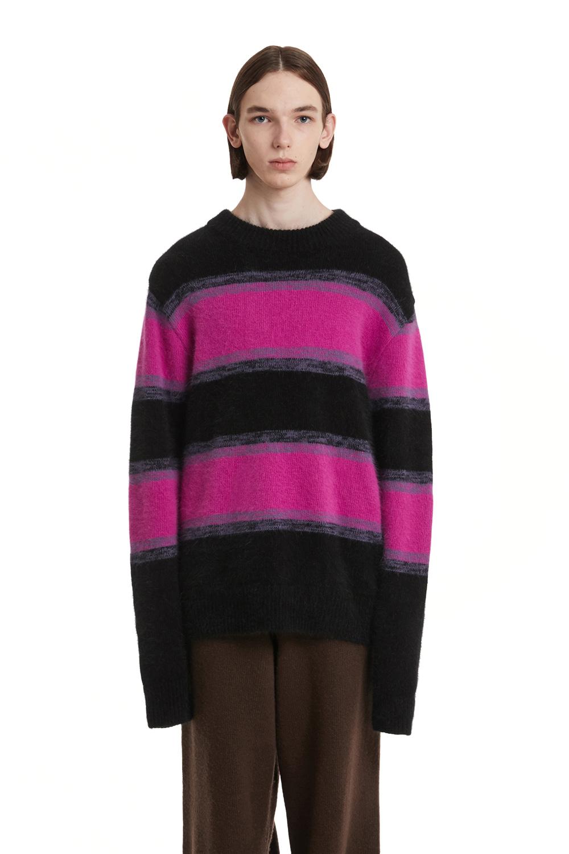 Angora Stripe Knit Sweater