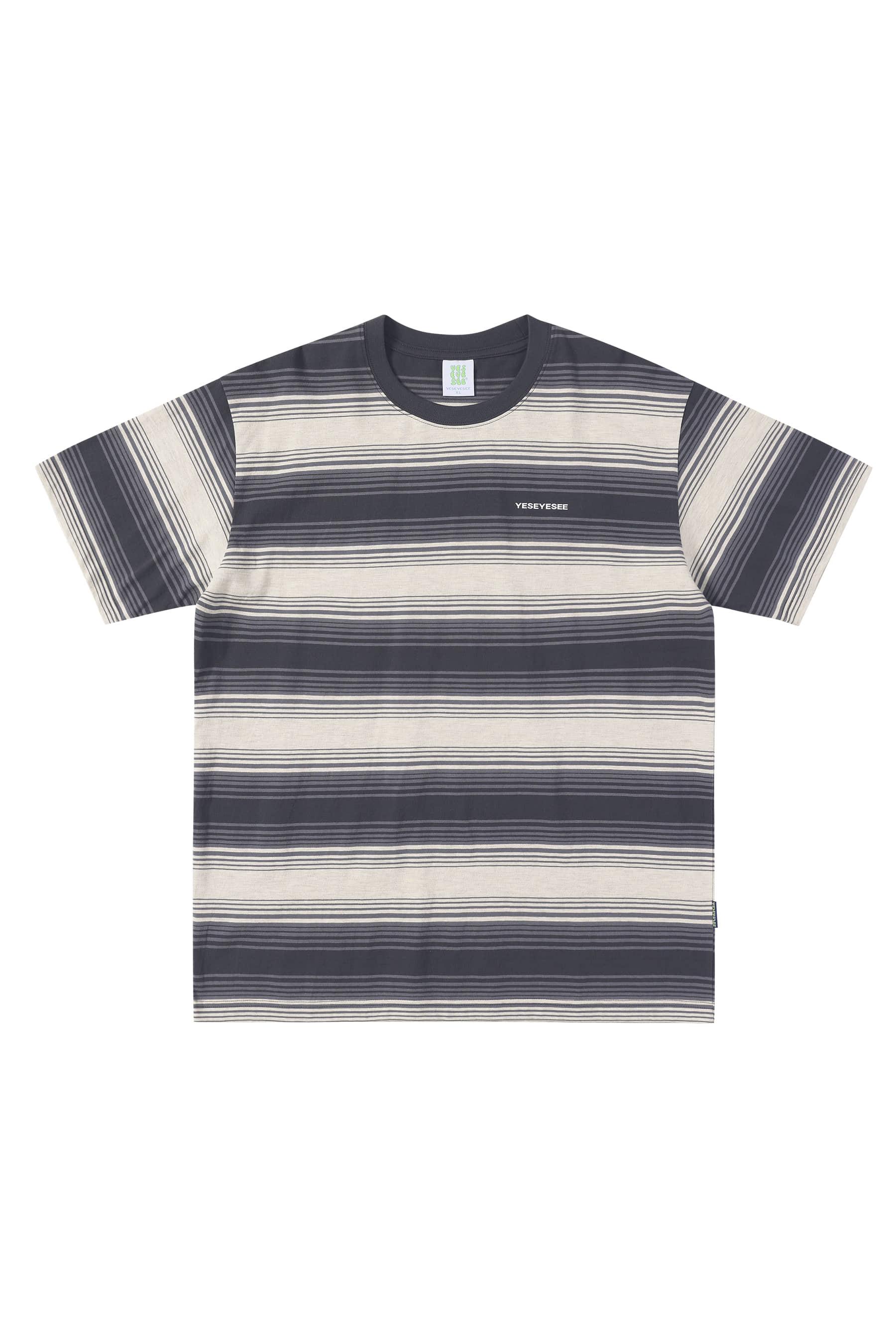 Y.E.S Stripe Tee Grey