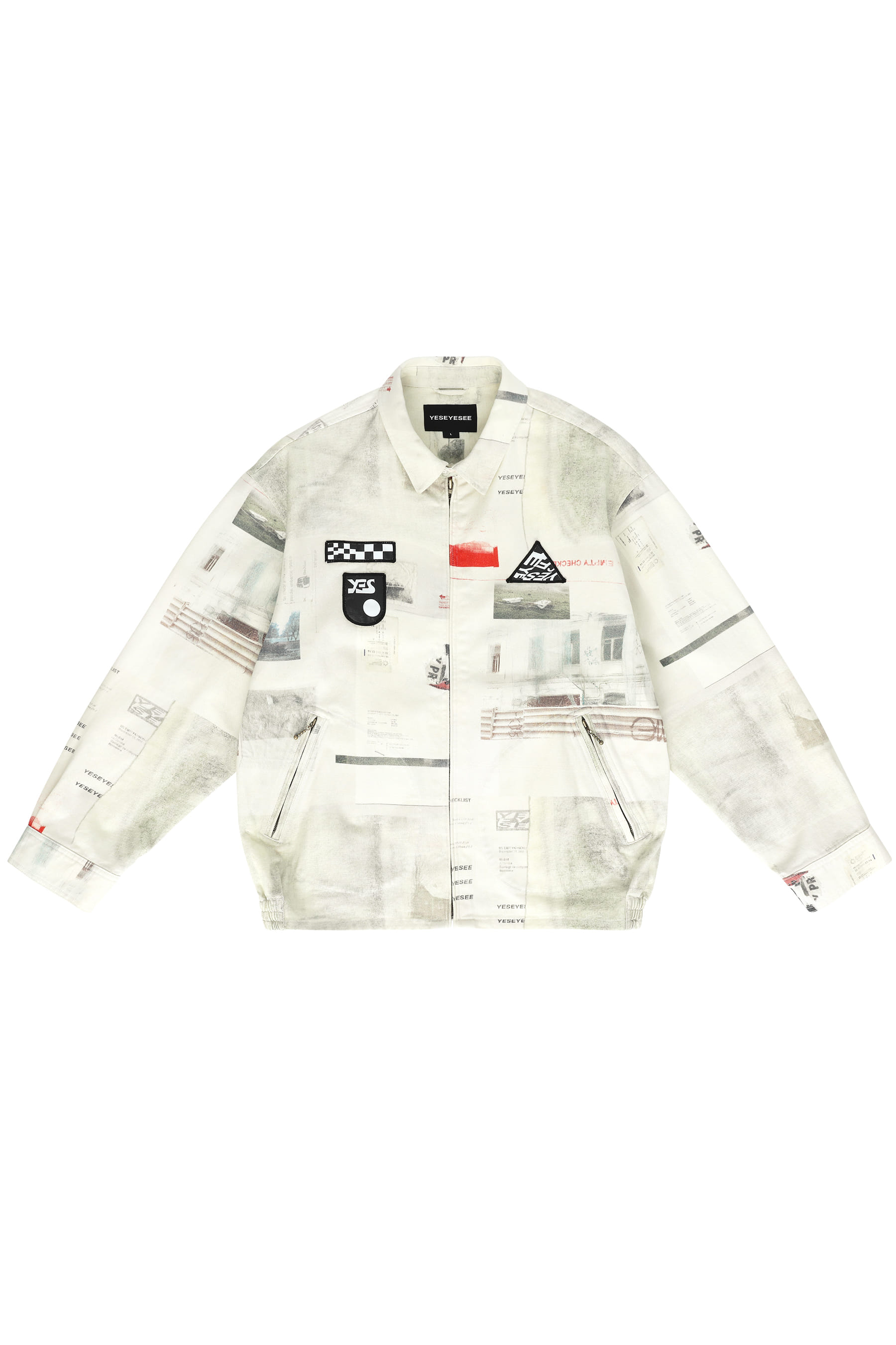 Patched Zip Jacket White