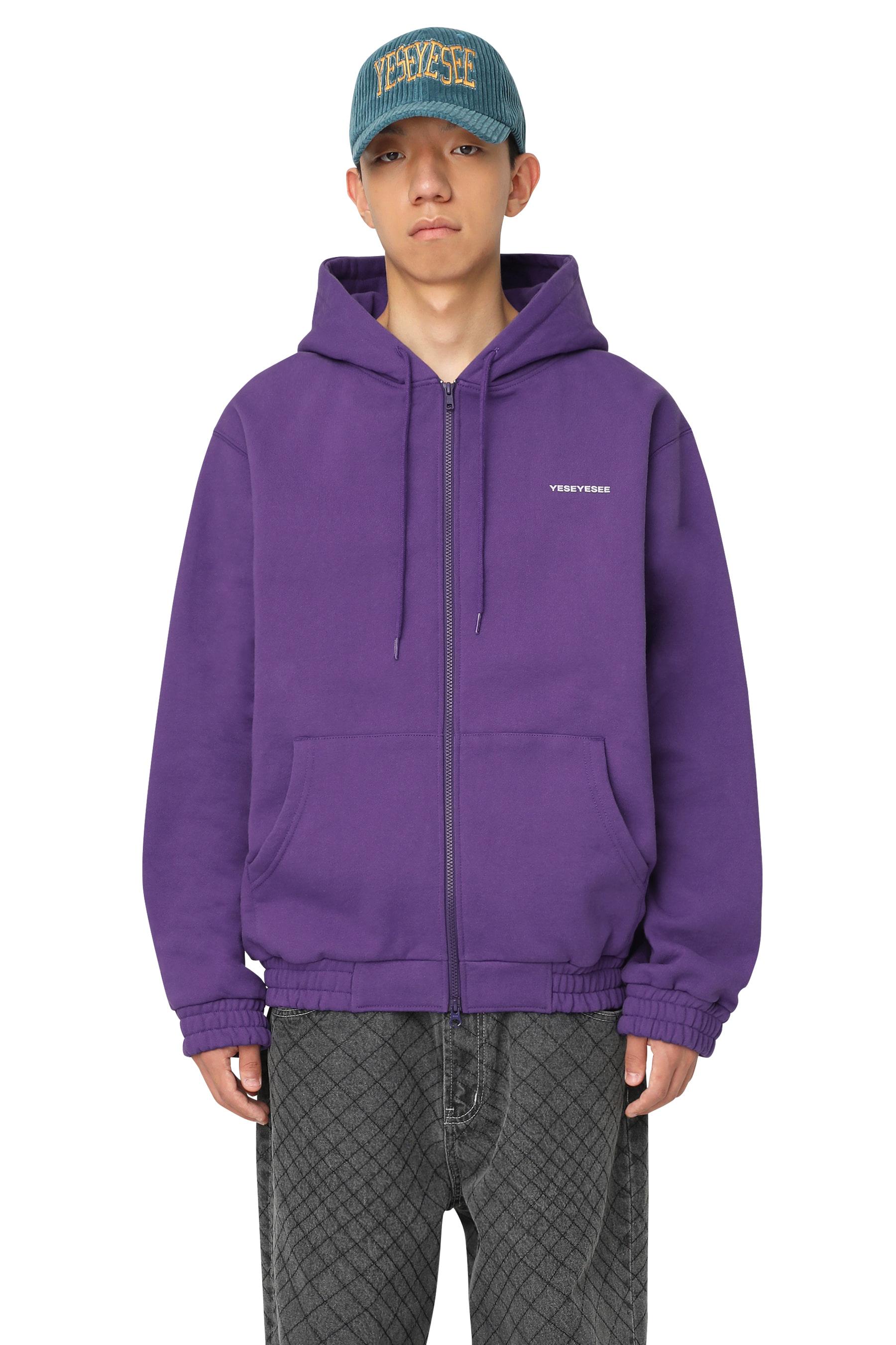 Flag Zip Up Hoodie Purple