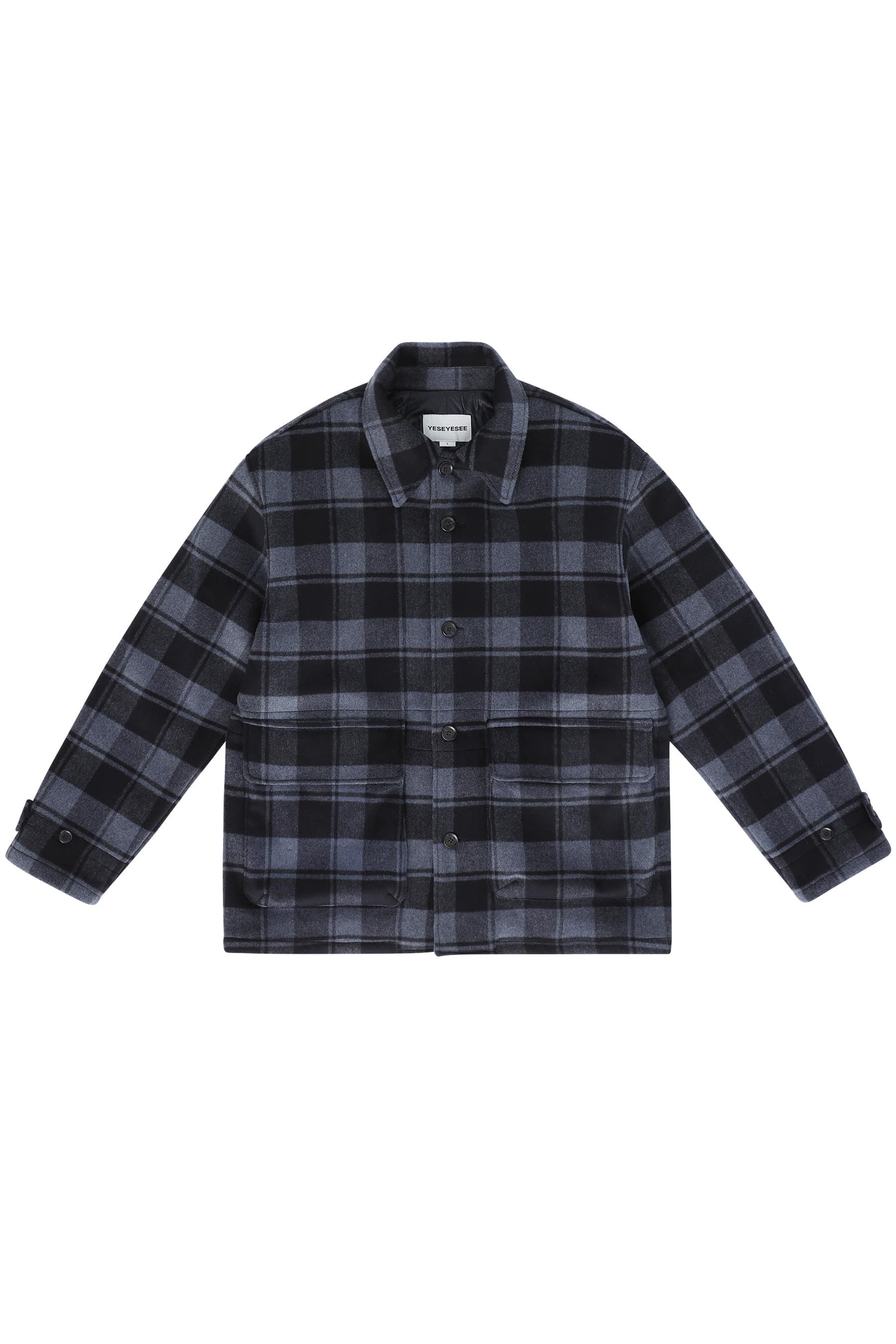 Wool Blended Check Half Coat Navy(10월 20일 예약배송)