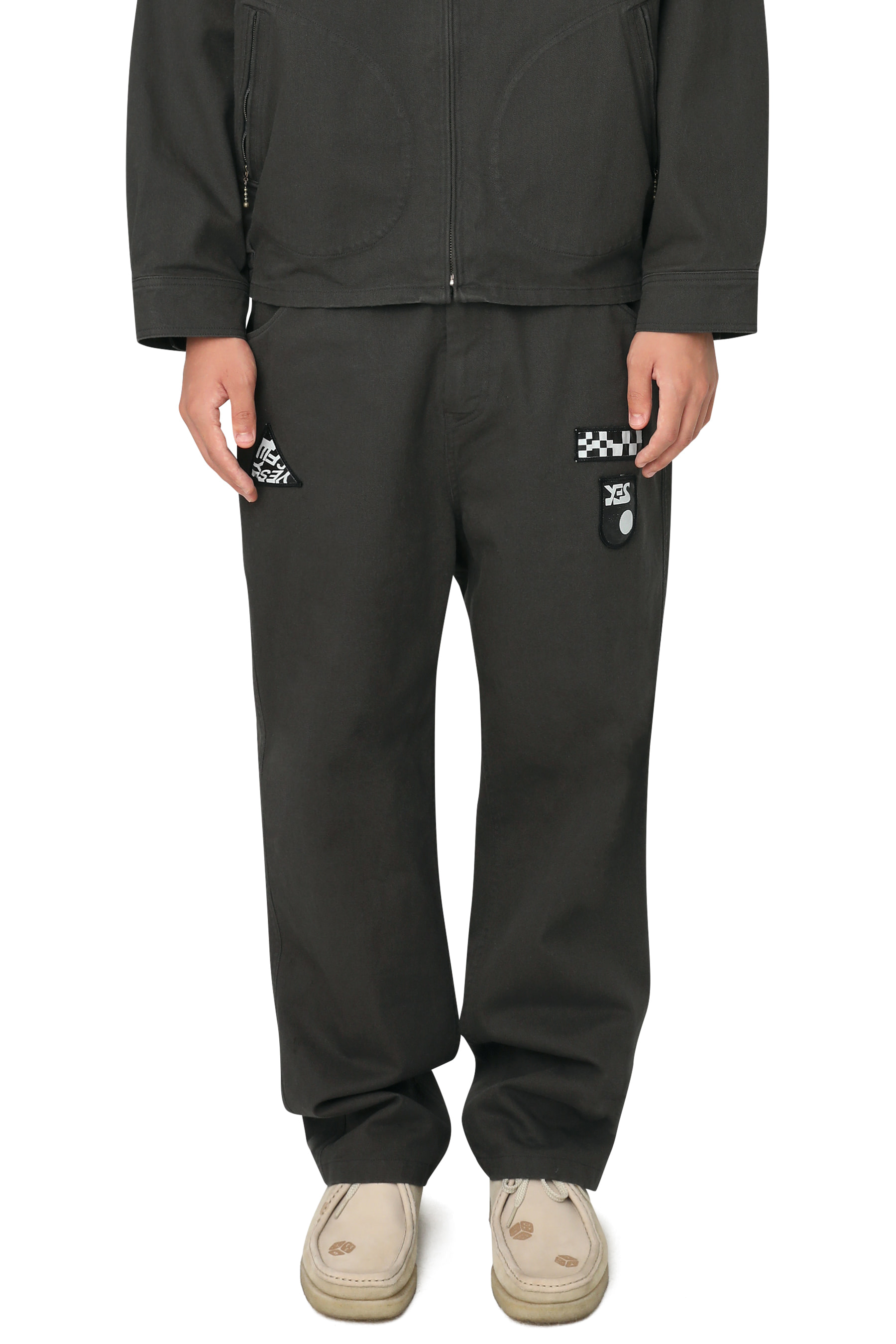 Patched Twill Pants Charcoal