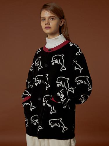 [원어스 건희/에이스 김병관 착용]돌핀 패턴 가디건 블랙