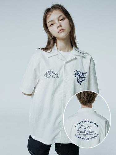 [스트레이키즈 한/온앤오프 이션 착용]퍼피돌핀 오픈카라 반팔 셔츠 화이트