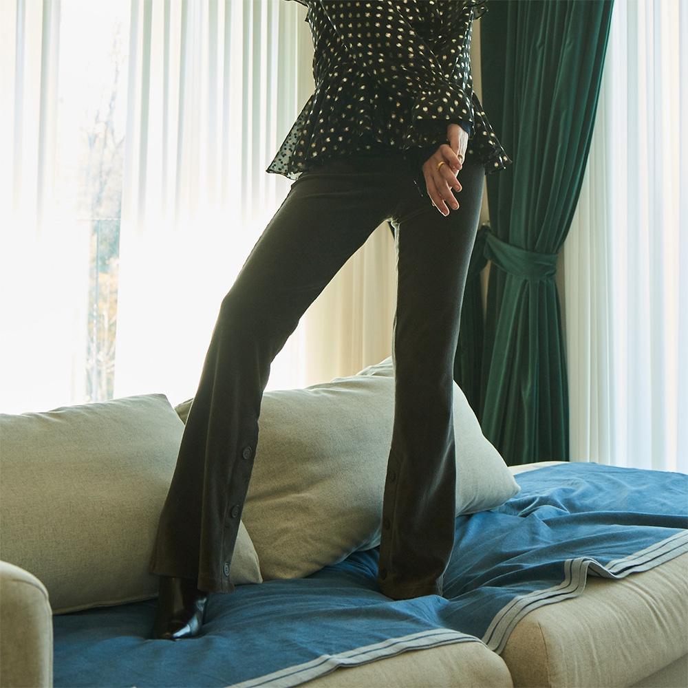 Velvet Bootscut Pants_ Grey