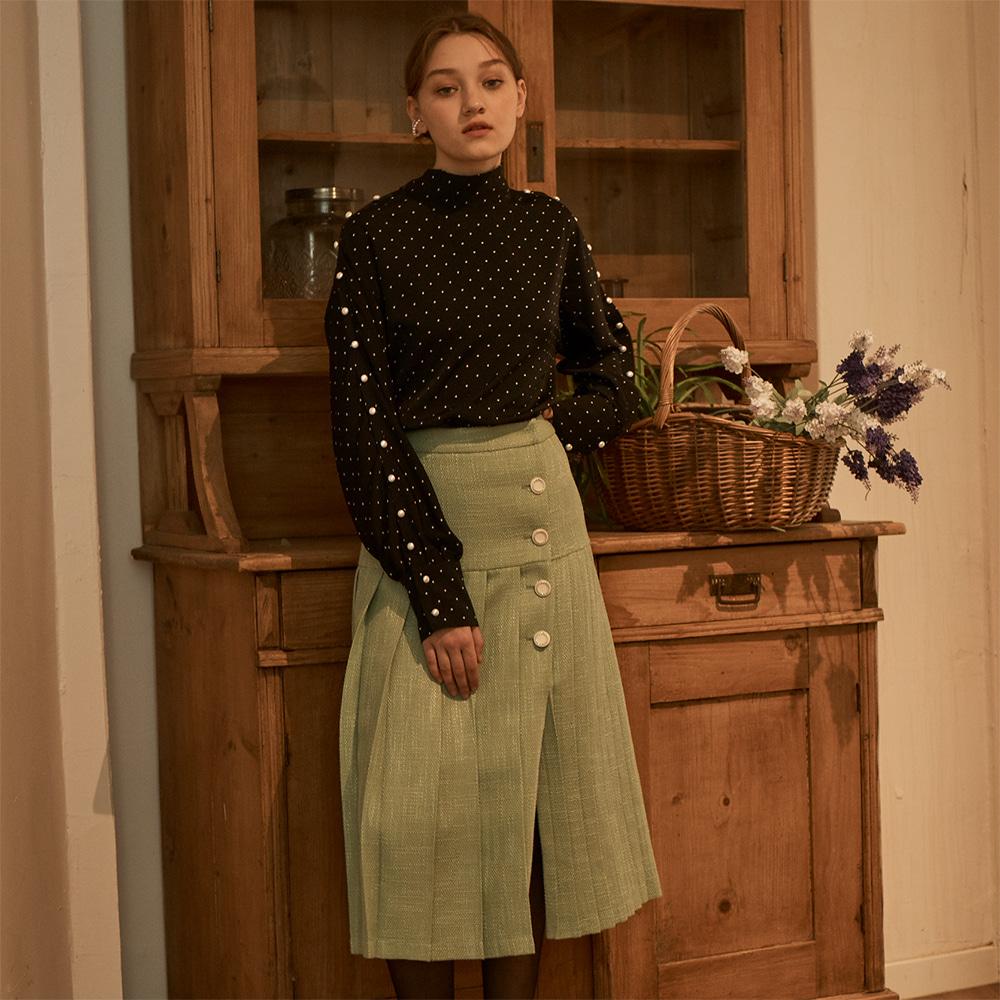 Tweed Pleats Skirt_ Green