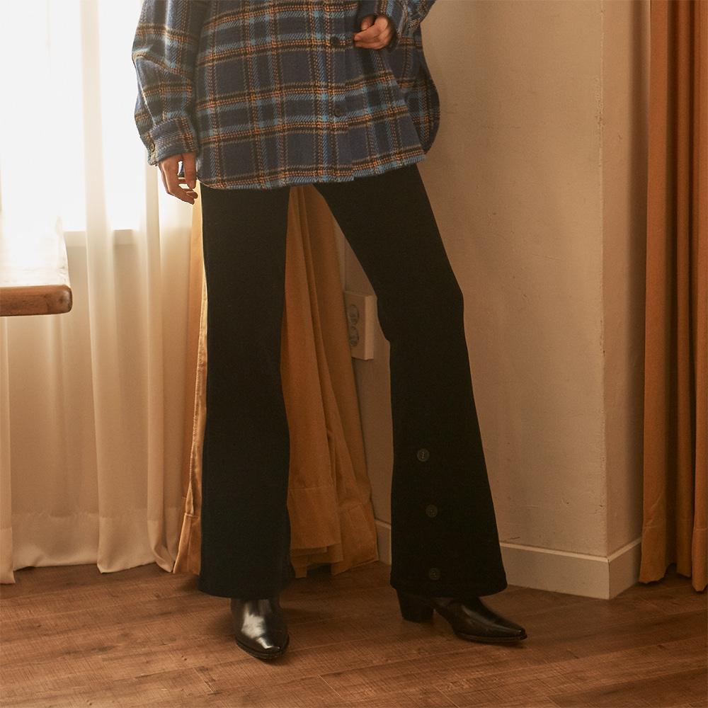 Velvet Bootscut Pants_ Black