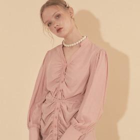 Tencel Shirring Blouse_ Pink