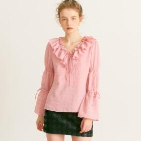 V-neck Ruffle Blouse_ Pink