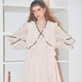 Lace Point Chiffon Dress_ Ivory