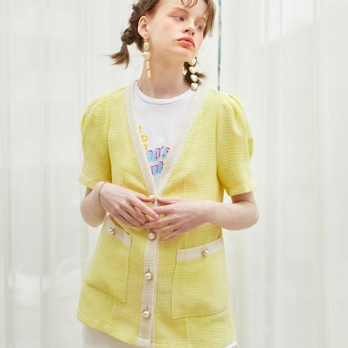 Puff Shoulder Linen Jacket_ Lemon