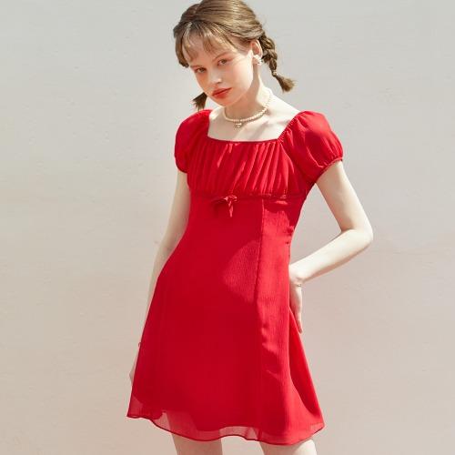 Chiffon Shirring Mini Dress_ Red