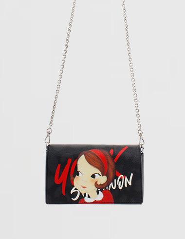 Flap chain S Blackria (chain bag / cross bag / mini bag)