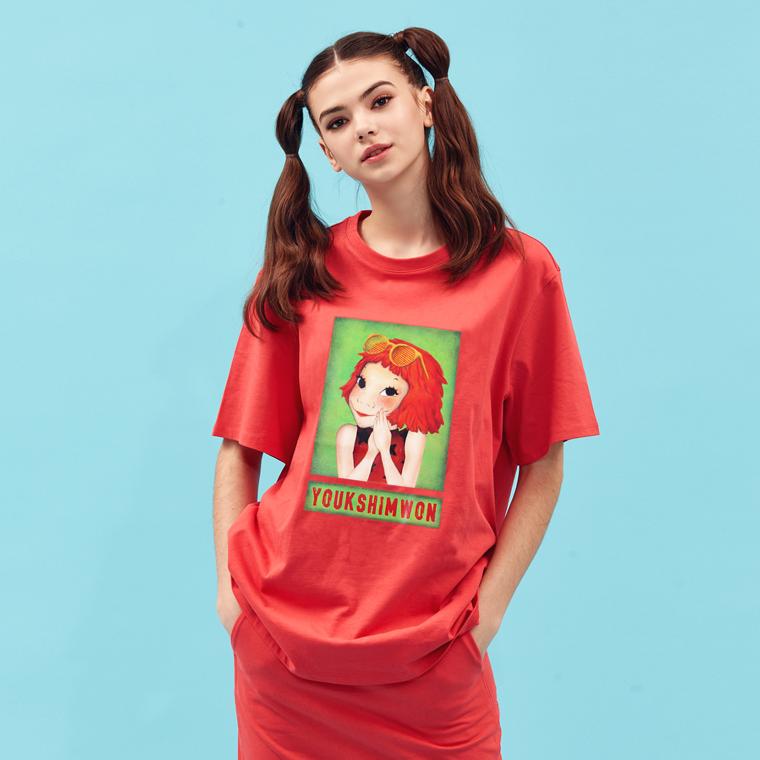 [21S/S NEW] Contrast T-shirts Red Coco