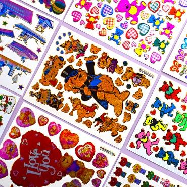 빈티지 홀로그램 스티커 동물 배 산타 (18종)