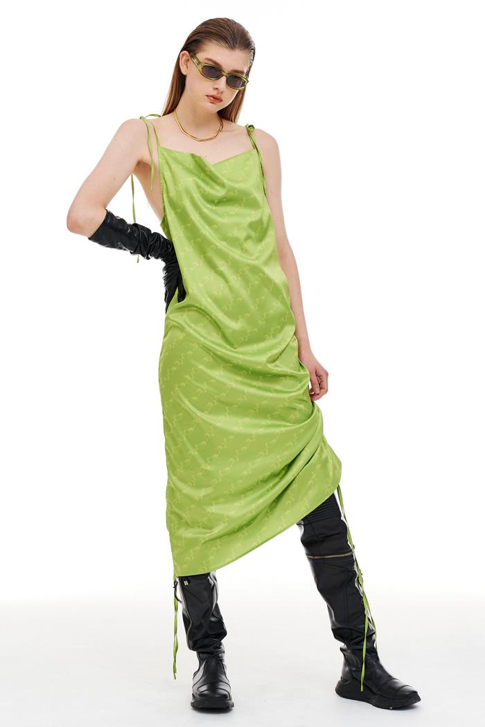 String Slip Dress Green