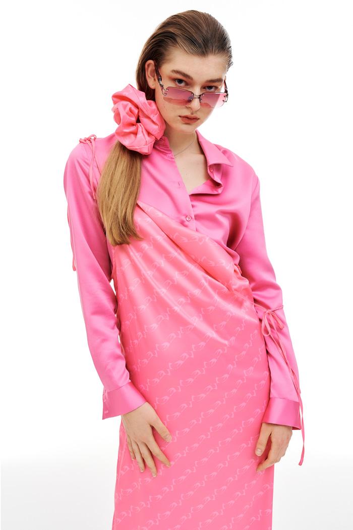 [9/28일 출고 예정] Silk Pattern Scrunch Pink