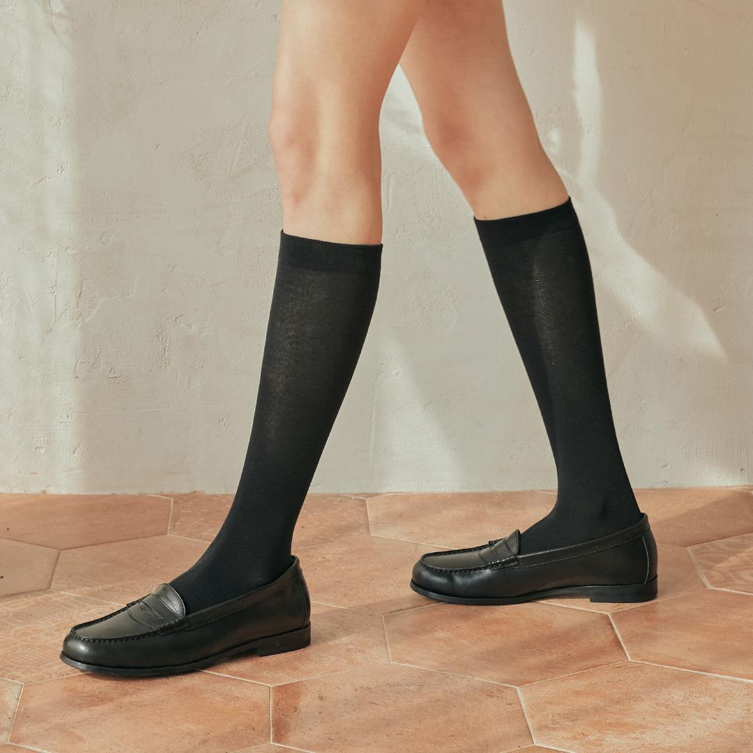 STB016 Cotton Solid Knee socks (4colors)SOCKSTAZ STANDARD